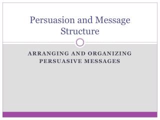 Persuasion and Message Structure