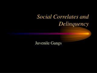 Social Correlates and Delinquency