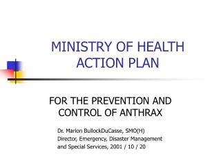 MINISTRY OF HEALTH ACTION PLAN