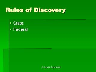 Rules of Discovery