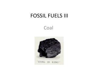 FOSSIL FUELS III