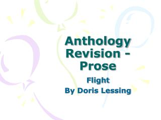 Anthology Revision - Prose
