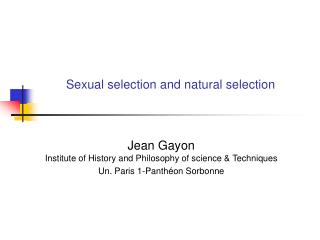 Sexual selection and natural selection