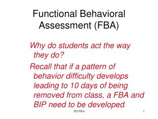 Functional Behavioral Assessment FBA