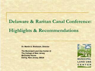 Delaware  Raritan Canal Conference: