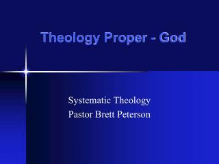 Theology Proper - God