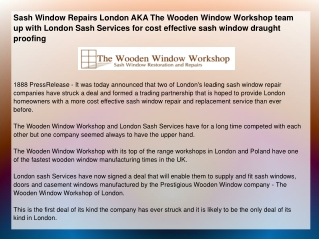 Sash Window Repairs London AKA The Wooden Window Workshop te