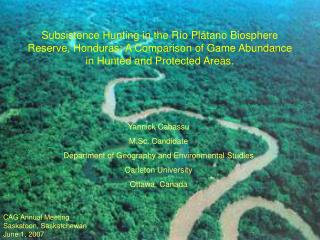 Subsistence Hunting in the R o Pl tano Biosphere Reserve, Honduras: A Comparison of Game Abundance in Hunted and Protect