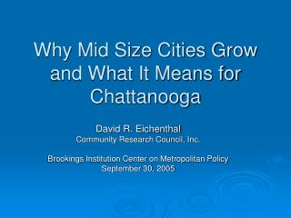 Why Mid Size Cities Grow and What It Means for Chattanooga