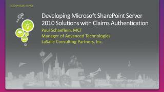 OSP306: Developing Microsoft SharePoint Server 2010 Solutions with ...