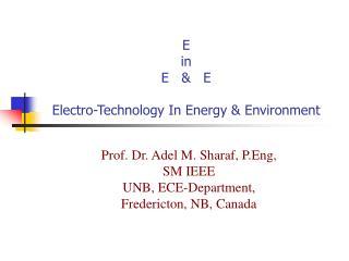 E in E  E Electro-Technology In Energy  Environment
