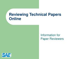 Reviewing Technical Papers Online