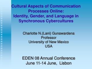 Cultural Aspects of Communication Processes Online: Identity ...