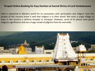 Tirupati Online Booking for Easy Darshan at Sacred Shrine of