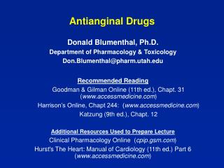 Antianginal Drugs