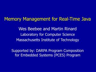Memory Management for Real-Time Java