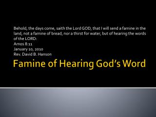 Famine of Hearing God