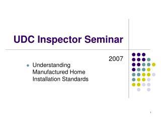 UDC Inspector Seminar
