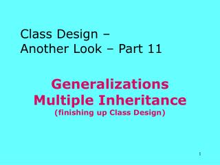 Generalizations Multiple Inheritance