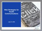 Web Strategies for Health Communications
