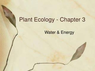 Plant Ecology - Chapter 3