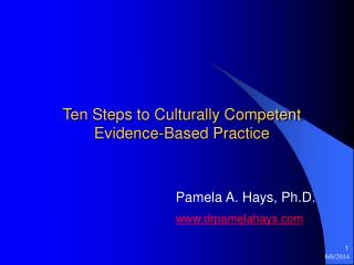Ten Steps to Culturally Competent Evidence-Based Practice
