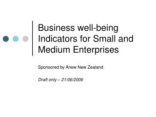Business well-being Indicators for Small and Medium Enterprises