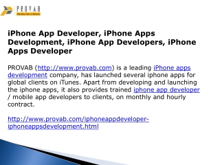iPhone App Developer, iPhone Apps Development
