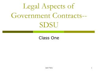Legal Aspects of Government Contracts--SDSU