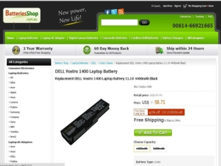 Features of a Dell Vostro 1400 Battery & Adapter