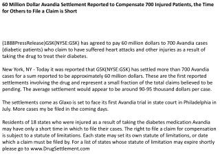 60 Million Dollar Avandia Settlement Reported to Compensate