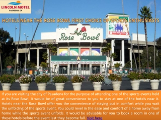 Hotels near the Rose Bowl – First Choice of Sports Enthusias