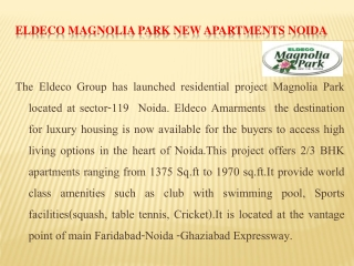 Eldeco Magnolia Park Noida@9999684955
