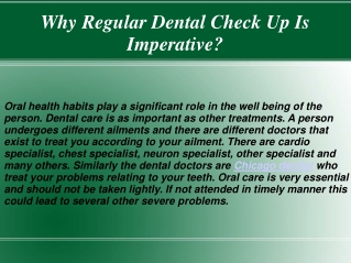 Why Regular Dental Check Up Is Imperative?