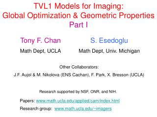 TVL1 Models for Imaging: Global Optimization  Geometric Properties Part I