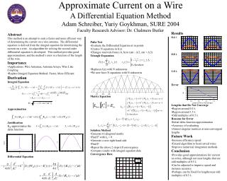 Approximate Current on a Wire A Differential Equation Method Adam Schreiber, Yuriy Goykhman, SURE 2004 Faculty Research