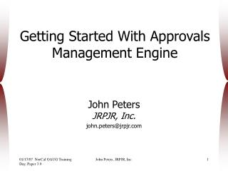 Getting Started With Approvals Management Engine