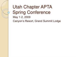 Utah Chapter APTA Spring Conference