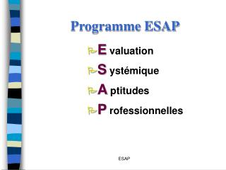 Programme ESAP
