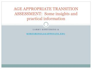 AGE APPROPRIATE TRANSITION ASSESSMENT: Some insights and ...