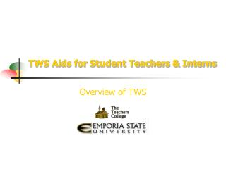 TWS Aids for Student Teachers  Interns
