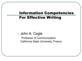 Information Competencies For Effective Writing