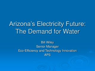 Arizona s Electricity Future:  The Demand for Water