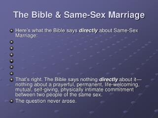 The Bible  Same-Sex Marriage