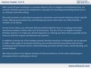 Los Angeles Cosmetic Dentistry - Dr. Hanna Hoesli