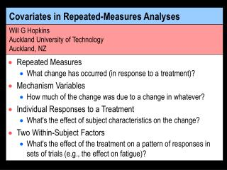 Covariates in Repeated-Measures Analyses