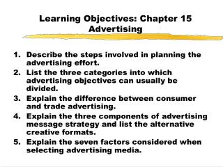 Learning Objectives: Chapter 15 Advertising