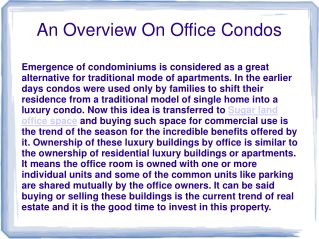 An Overview On Office Condos