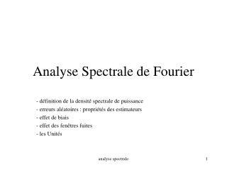 Analyse Spectrale de Fourier