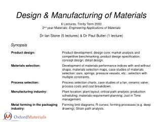 Design  Manufacturing of Materials
